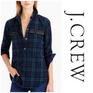 J. CREW Beaded Chevron Popover Shirt  A1-30
